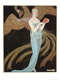 Blue Dress by Beer Giclee-trykk av Georges Barbier