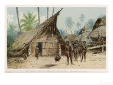 Papua New Guinea: Village Scene in the North-East of the Island Giclee Print by Wilhelm Kuhnert