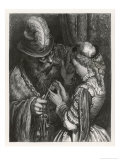 Bluebeard Warns Her About the Key to the Room She is Forbidden to Enter Giclee-trykk av Gustave Doré
