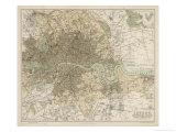 Karta över London och dess förorter Gicléetryck av J. Bartholomew