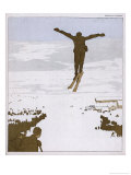 Skier Flies Through the Air Giclee Print by Olaf Gulbransson