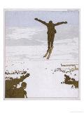 Skier Flies Through the Air Giclee Print by Olaf Gulbransson