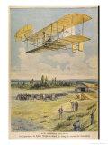 Wilbur Wright Demonstrates His Flying Machine Over the Racecourse Lámina giclée por Paul Dufresne