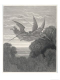 The Angels Ithuriel and Zephon Fly with Sword and Lance Reproduction procédé giclée par Gustave Doré