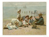 Children Sitting on the Beach Listening to Stories Giclee Print by A.w. Rossi
