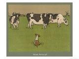 Who's Afraid, a Perky Little Dog Keeps an Eye on Three Cows Giclée-Druck von Cecil Aldin