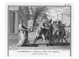 The Head of Pompeius Treacherously Murdered in Egypt is Brought to His Opponent Caesar Giclée-tryk af Augustyn Mirys
