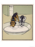 Dog and a Cat Drink Milk from a Large Bowl Giclee Print by Cecil Aldin