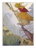 Baba Yaga the Witch There She was Beating with the Pestle and Sweeping with the Besom Gicléetryck av D. Mitrokhin