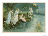 Group of Fairies Fishing in the River for Stars Giclee Print by P. Kauffmann