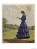 Girl Stands in a Field Reading Her Book Giclee Print by Harold Knight