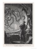 Ventimila leghe sotto i mari: avvistamento di una seppia gigante dal Nautilus Stampa giclée di  Hildebrand