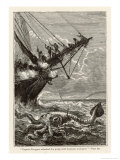 20,000 Leagues Under the Sea: Attacking a Giant Squid Giclee Print by  Hildebrand