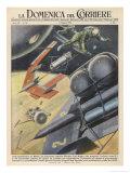 German Engineer Wernher Von Braun Proposes a Variety of Designs for Interplanetary Spacecraft Giclée-tryk af Walter Molini