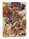 Cuchulain (Cu Chulainn) Rides His Chariot into Battle Giclee Print by Joseph Christian Leyendecker