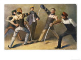 "The ""Mensur"" (Fencing Bout), Both Duellists Hope They Will be Scarred for Life Giclee Print by Georg Muhlberg"