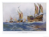 Eighth Crusade the Ships Giclee Print by Albert Sebille