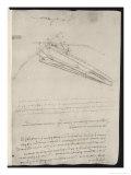Sketch of a Design for a Flying Machine Lámina giclée por  Leonardo da Vinci