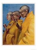 "Tibetan ""Yellow Monks"" Using Prayer Wheels Giclee Print by Henry Savage Landor"