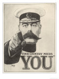 Your Country Needs You, Featuring Lord Kitchener Giclée-tryk af Alfred Leeze