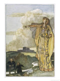 The Devine Queen Macha Curses the Men of Ulster Because They Once Insulted Her Prowess Gicléetryck av Stephen Reid
