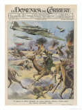 East Africa: Low Level Attack on Allied Forces Including Camel-mounted Cavalry by Italian Planes Giclée-tryk af Walter Molini
