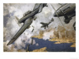 """Stuka"" Dive- Bombers Attack the Island of Malta a Vital Allied Base Giclee-trykk av  Schnurpel"