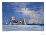 Hms Sydney Opens Fire on the German Cruiser Emden Giclee Print by Maurice Randall