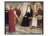 Saint Hilda of Whitby Anglo-Saxon Abbess Receiving a Visit from Caedmon Gicléetryck av Stephen Reid