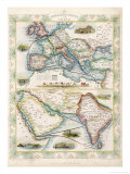 Two-Part Map Showing Overland Routes to India Giclee Print by J. Rapkin