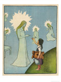 Little Girl Sets out to Find Her Seven Brothers and Receives Help from an Angelic Lady Gicléetryck av Willy Planck
