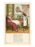 Polly Put the Kettle on We'll All Have Tea Giclee-trykk av Kate Greenaway