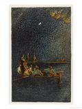 Morgan Takes a Spanish Treasure Ship Then Watches It Burn Gicléedruk van Howard Pyle
