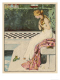 The Princess Discovers a Frog at Her Feet: Curiously He Too is Wearing a Crown Gicléetryck av Willy Planck