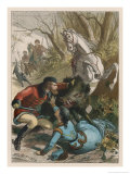 Woman is Rescued from a Wild Boar During a Hunting Expedition Lámina giclée por D. Eusebio Planas