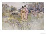 Japanese Couple in a Garden Giclée-Druck von Warwick Goble