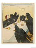 The Seven Ravens (Seven Brothers Transformed by a Wicked Spell) Sit at the Dinner Table Gicléetryck av Willy Planck
