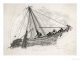 Five Sailors in the Rigging of a Sailing Ship Reefing a Sail Giclee Print by T. Ruhieres