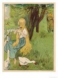 The Goose Girl Combs Her Long Blond Hair Gicléetryck av Willy Planck