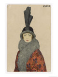 Woman Wears a Coat or Mantle in a Bold Oriental Print with a Deep Fur Border Giclee Print by Mela Koehler