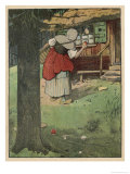 The Wicked Queen in Disguise Brings a Poisoned Apple to Snow White Gicléetryck av Willy Planck
