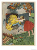 Gretel Seizes Her Opportunity and Pushes the Wicked Witch into the Oven Gicléetryck av Willy Planck