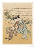Two Japanese Lovers Play the Shamisen Giclee Print by Suzuki Harunobu