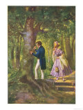Franz Schubert Austrian Musician Carving His Beloved's Name on a Tree Giclée-tryk