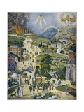The Broad and Narrow Way, the Narrow Road to Heaven Contrasted with the Broad Way to Hell Giclée-tryk