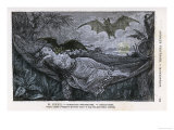 Vampire Bat Bites the Neck of a Sleeping Girl in as Hammock Giclée-tryk