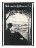 Advertisement for a Fountain Pen Featuring a Silhouette of a Woman Sitting Under a Tree Writing ジクレープリント