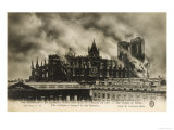 Reims Cathedral is Set on Fire by the Germans Giclee Print