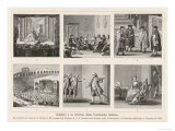 Carlo Goldoni, Six Scenes Celebrating His Reform of Italian Comedy in the Style of Moliere Giclee Print