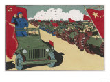 Mao Reviews His Army, The Line up in Tanks as He Drives Past and Salutes Giclee Print